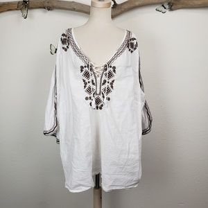 Roaman's bono white blouse with brown embroidery